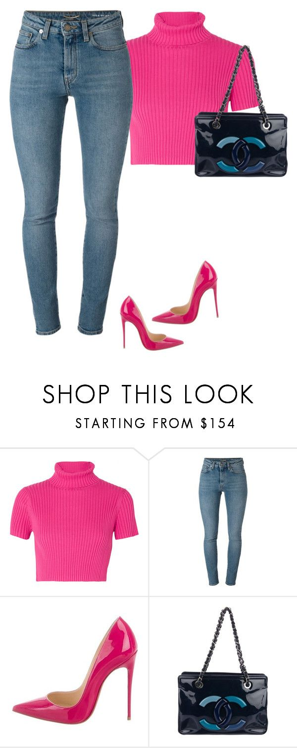 """""""Untitled #290"""" by sb187 ❤ liked on Polyvore featuring Staud, Yves Saint Laurent, Christian Louboutin and Chanel"""