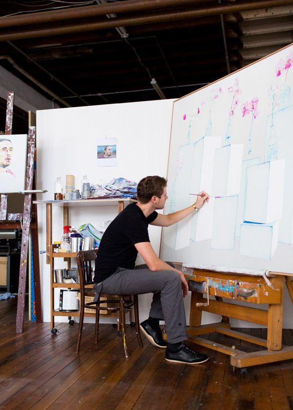 Julian in the studio. Photo -Phu Tang.