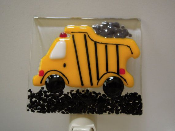 Fused Glass Yellow Dump Truck Night Light by LaGlasSea on Etsy