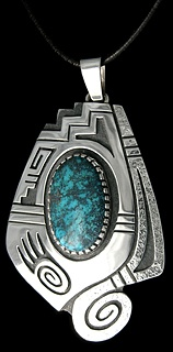 Gold Canyon Turquoise Roy Talahaftewa, Hopi Designs include a badger paw, snow clouds and the movement of moisture throughout.