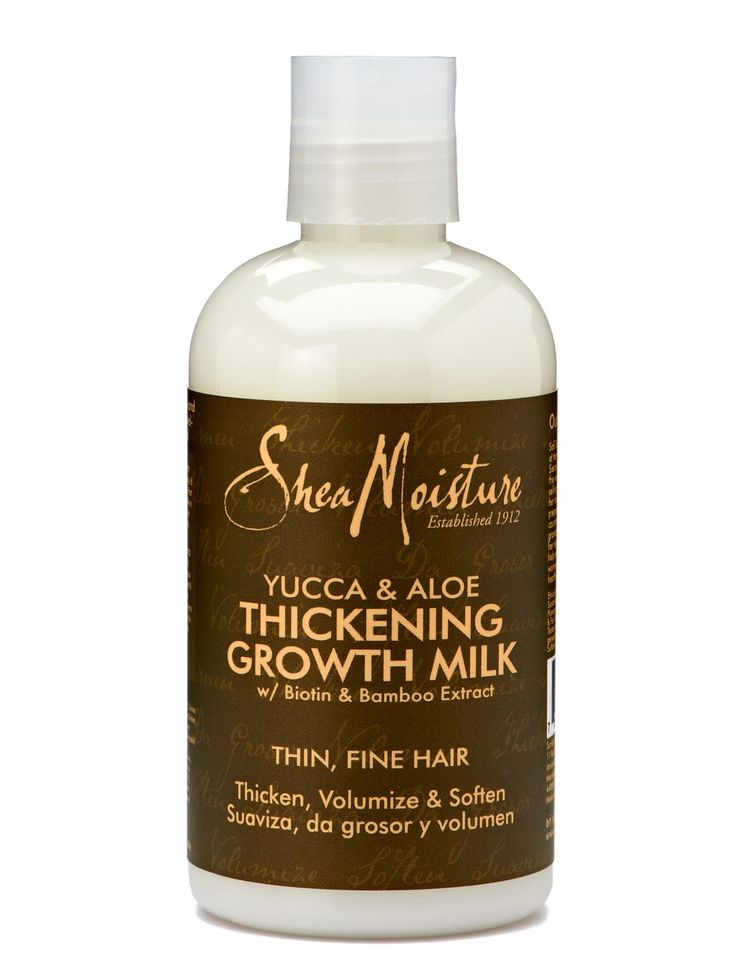 Don't be intimidated by the hippie-ish name. SheaMoisture Yucca & Baobab Thickening Growth Milk ($9.79), an all-natural leave-in conditioner, packs hair-beautifying ingredients like yucca extract to thicken, biotin to strengthen hair follicles, and vitamin-rich baobab oil to fortify.