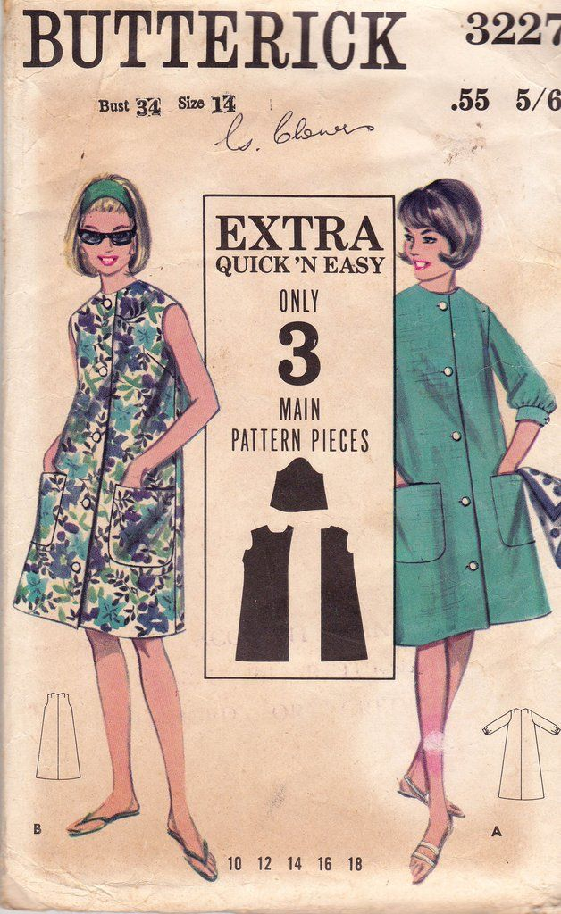 Butterick 3227 Womens Easy Tent Dress 60s Vintage Sewing Pattern Size 14 Bust 34 inches