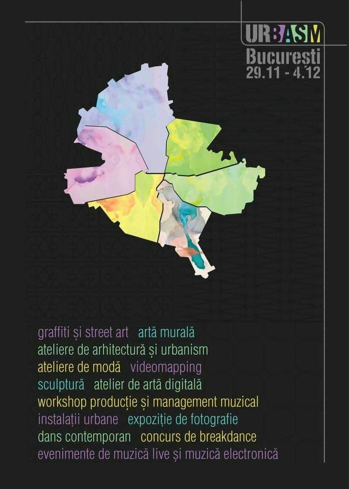 UR.BASM Festival - În perioada 29 Noiembrie - 4 Decembrie, Bucureștiul urban va scoate cele mai îndrăznețe și mai colorate povești la suprafață sub forma unui festival dedicat artiștilor români dar și de peste hotare. UR.BASM a fost creat cu scopul de a ilustra pe parcursul a 6 zile o serie de întâmplări urbane la care publicul este invitat să fie martor sau de ce nu, participant. Mai multe detalii despre festival pe: www.urbasm.ro