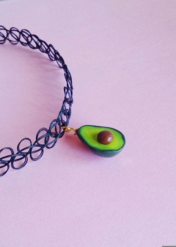 Avocado Necklace, Avocado Pendant, 90's Necklace, Avocado Tattoo Choker, Miniature Food jewelry