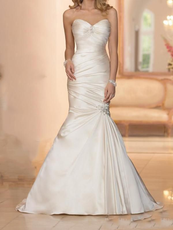 Find More Wedding Dresses Information about 2015 Elegant Long Stain Champagne Wedding Dresses Mermaid Sweetheart Sleeveless Lace Up Vestido De Noiva De Cetim Custom Made ,High Quality lace dress,China lace beach wedding dress Suppliers, Cheap lace dress black from SuZhou Louise Trading Co.,LTD on Aliexpress.com
