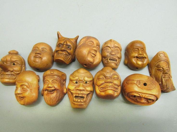 Japanese boxwood carved netsuke ojime mask
