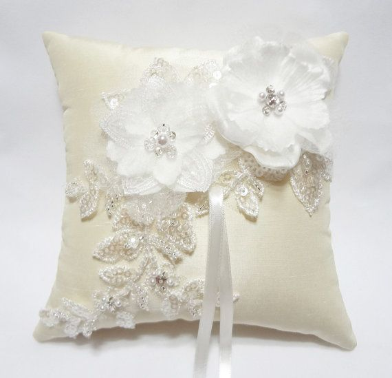 Wedding Ring Pillow Cream Satin Organza Blossom on Ivory
