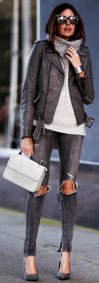 Lina Pelle Jacket |Philipp Lim Sweater |Citizens Of Humanity Jeans |M2Malletier Bag | Shades of Grey Winter Streetstyle | FASHIONED|CHIC #lina