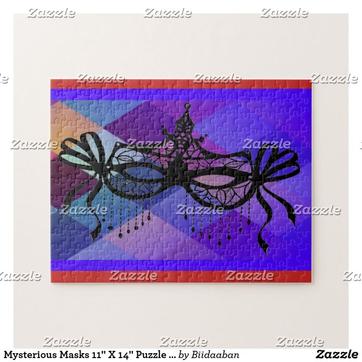 """Mysterious Masks 11"""" X 14"""" Puzzle with Gift Box"""