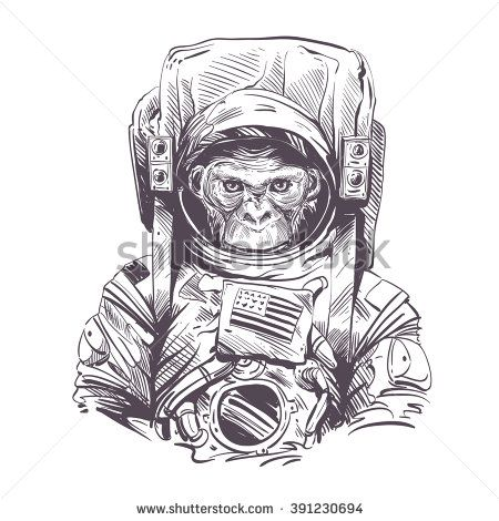 Monkey in astronaut suit. Hand drawn vector illustration - stock vector