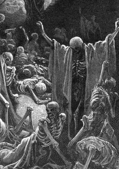 La vision des ossements desséchés – Gustave Doré (Détail, 1865) #undead #skeletons