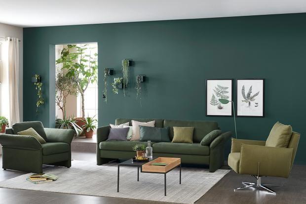 Designfarbe Besinnliches Waldgrun Schoner Wohnen Wohnzimmer Wohnzimmer Gestalten Wandfarbe Wohnzimmer