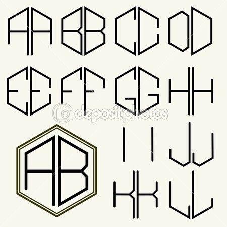 Insieme delle lettere di modello per creare monogrammi di due lettere inscritto in un esagono in stile Art Nouveau — Illustrazione stock #59366659