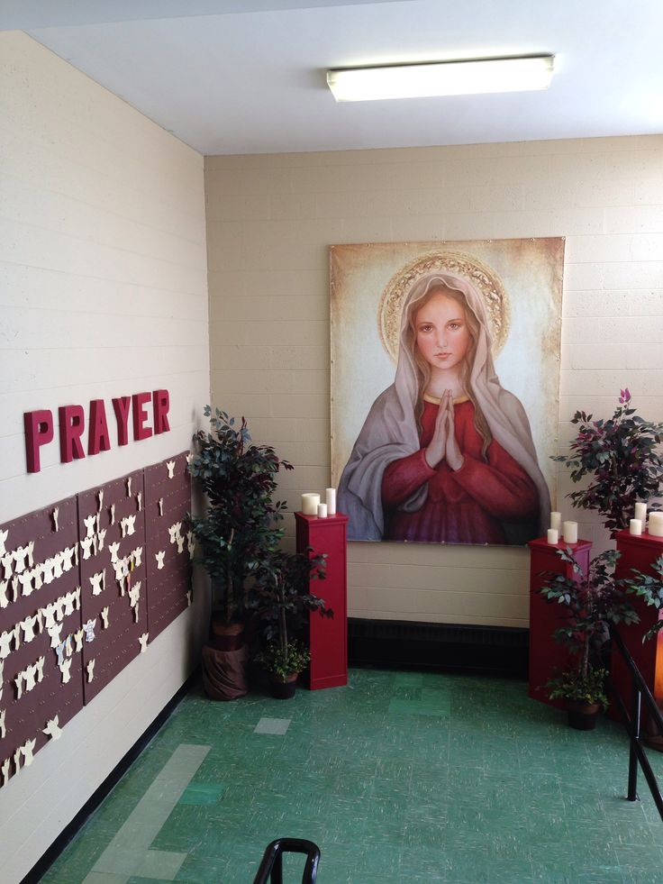 Catholic Schools Week Prayer Wall Area Idea at our school: Immaculate Conception Elementary, Grand Traverse Area Catholic Schools...this is a prayer area we designed on a SMALL budget for our 3-5 students, so they have an intention area. It is a blessed area!!