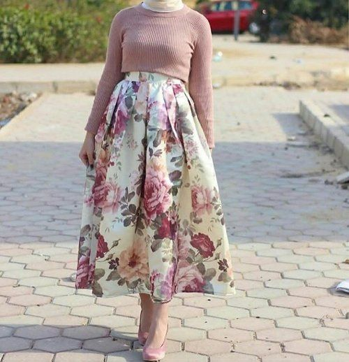 Summer floral maxi skirts with hijab – Just Trendy Girls