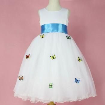 Butterfly-Detailed A-Line Sleeveless Dress in Blue for Baby & Girls