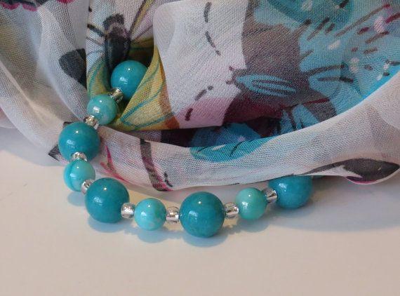 Blue Bead Bracelet / Turquoise Jade Bead by BeadablesBracelets