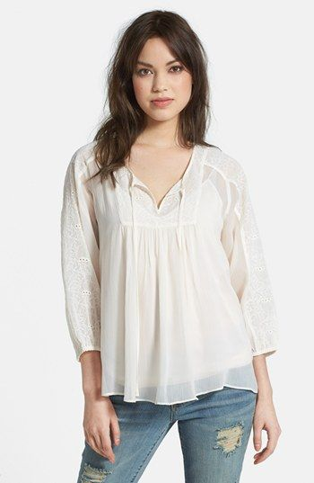 $59, White Peasant Blouse: Jessica Simpson Symphony Embroidered Peasant Blouse Antique White Medium. Sold by Nordstrom. Click for more info: https://lookastic.com/women/shop_items/56372/redirect