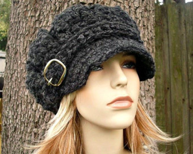 Carbón de leña gris vendedor de periódicos gorro de ganchillo sombrero sombrero de mujer gris sombrero - monarca gran tamaño acanalado del ganchillo del vendedor de periódicos - las mujeres accesorios