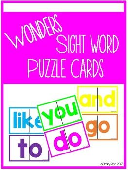 I created these puzzles to use in my morning bins or explore tubs at the beginning of the school year. They would also be great for word work or fast finishers. Included are all 40 Reading Wonders (Kindergarten) sight words. There are half sheet puzzle cards as well as quarter