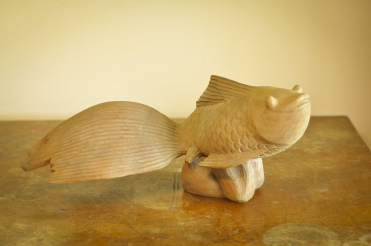 Vintage Large Wooden Carved Goldfish Sculpture by drowsySwords on Etsy