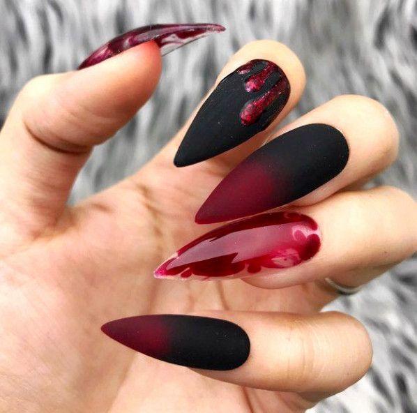 Black Red Blood Drip Splatter Halloween Press On Nails Any Shape