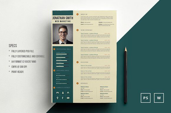 Word Resume Template by Pixdizayn on @creativemarket