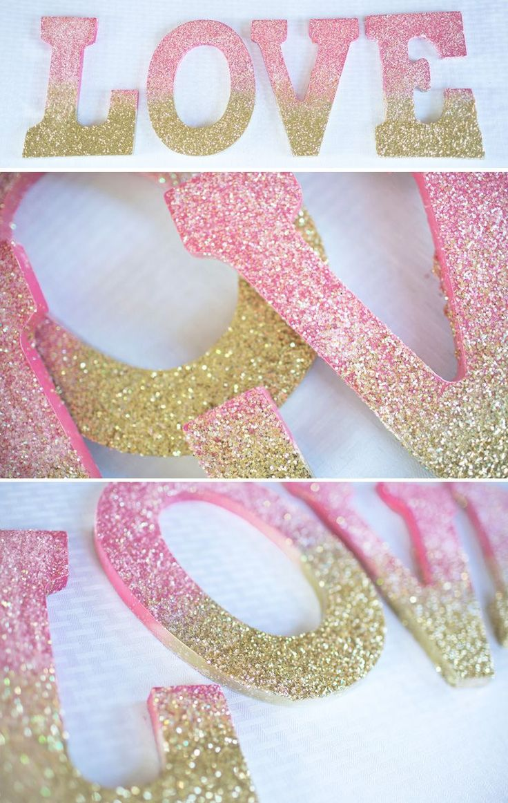 How to glue scrapbook paper to wood letters - Ombre Glitter Love Sign Diy Paint Wooden Lettersdecorating
