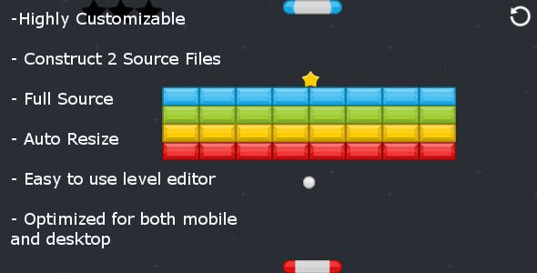 Super Breakout - C2 Customizable . Breakout style game where the player controls two paddles for hectic gameplay.Game Features:-        Highly Customizable- Construct 2 Source Files- Full Source- Auto Resize- Easy to use level editor- Optimized for both mobile and
