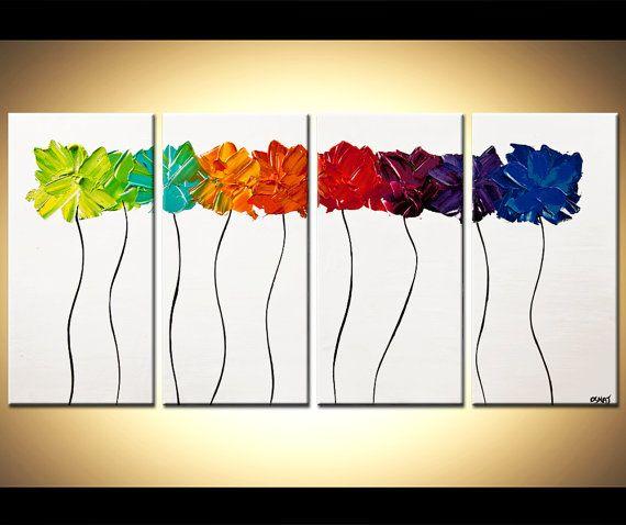 ORIGINAL abstracto contemporáneo flor flores por OsnatFineArt