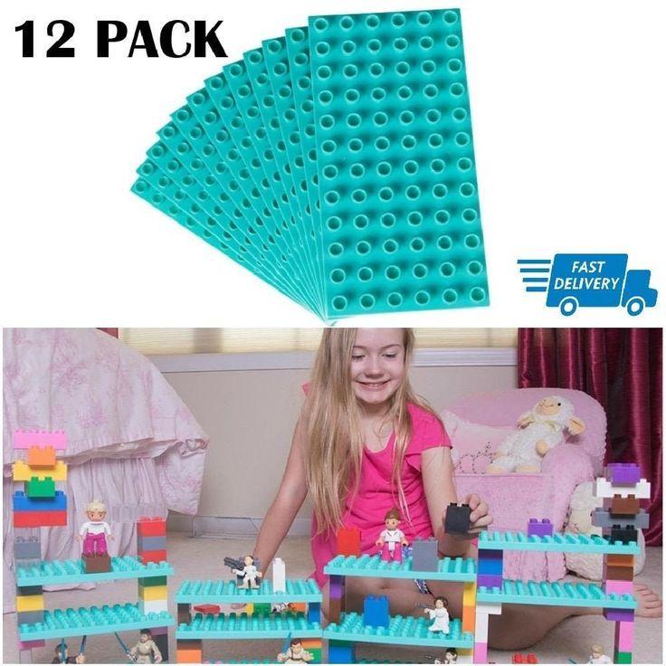 "12 Base Plates Brick Lego Building Baseplates Stackable 7.5X3.75"" Kids Play Game #StrictlyBricks"