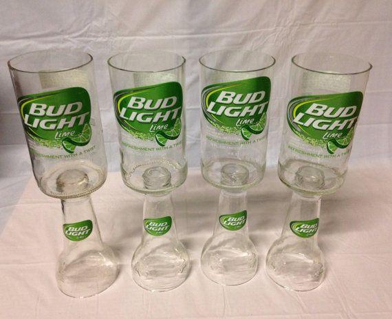 Bud light lime beer bottle wine glasses recycled glass for Can beer bottle caps be recycled