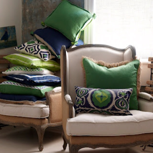 Kelly Green Navy White Pillow Story