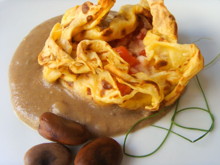 Crepes with cheese Formaggio di Fossa and Fava beans puree