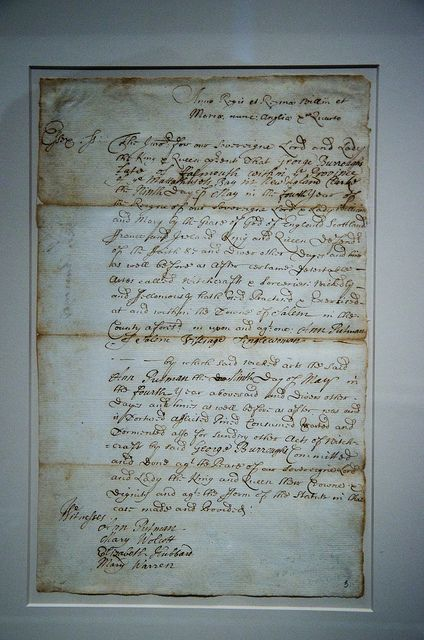 The original document testimony of four women against George Burroughs for witchcraft, 1692. Salem.