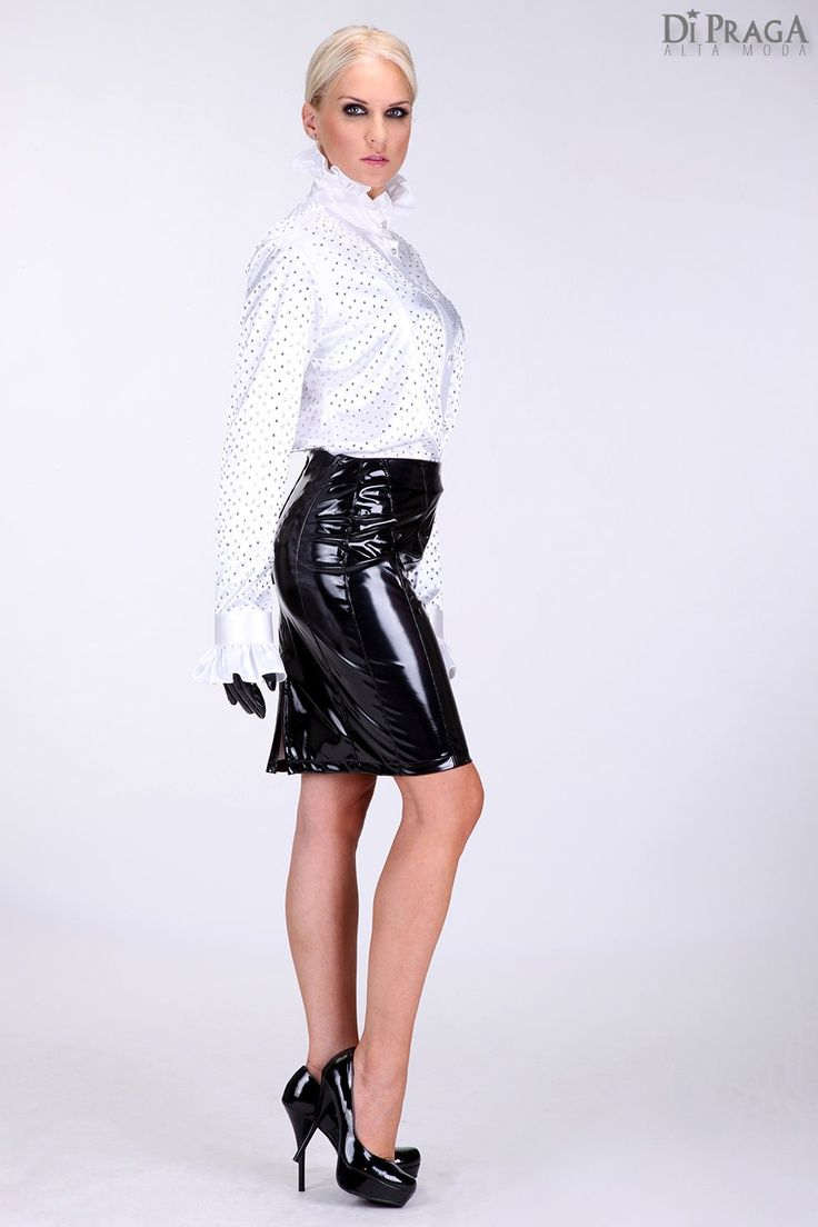 image Latex pencil skirt walking in extreme heels