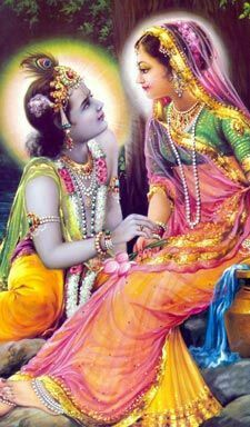 Krishna gazes into Radharani's lotus eyes