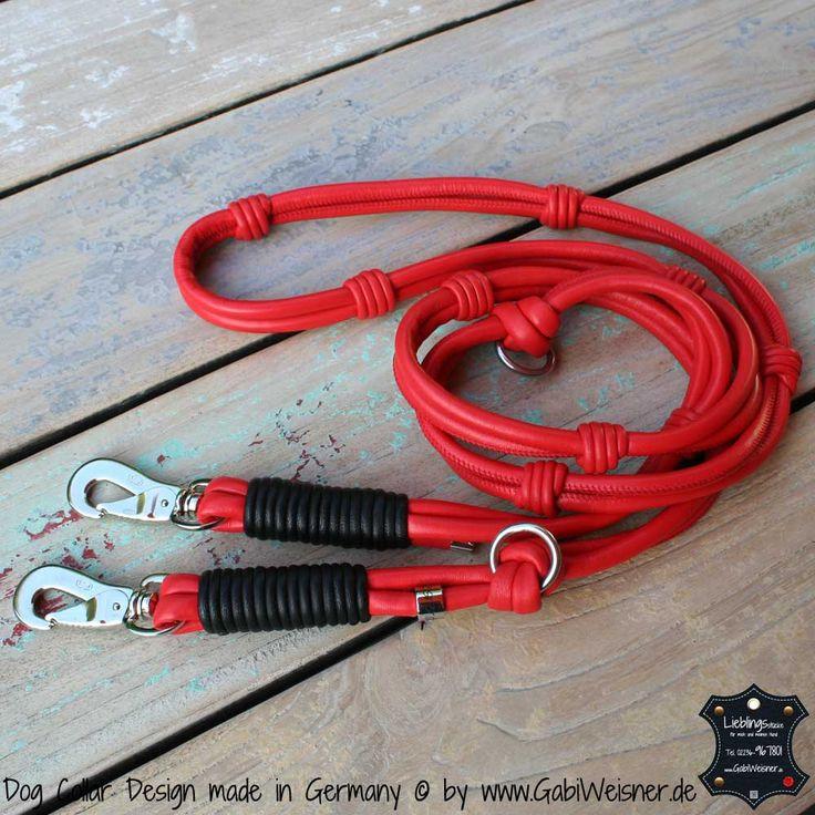 Hundeleine Leder Rot      Exklusive Hundeleine im Ledermix für mittelgroße und große Hunde.