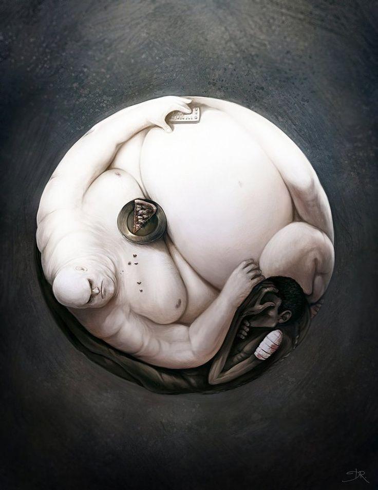 The Ying and the Yang of World Hunger - Imgur: The Hunger, Artists, Art Illustrations, Digital Paintings, Artworks, Concept Art, Yinyang, Yin And Yang, Yin Yang