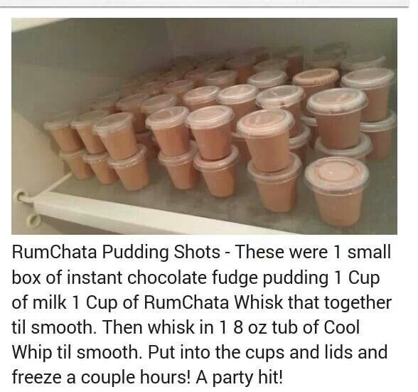 RumChata Pudding Shots....Been looking for this recipe!  Have had these using chocolate and vanilla pudding