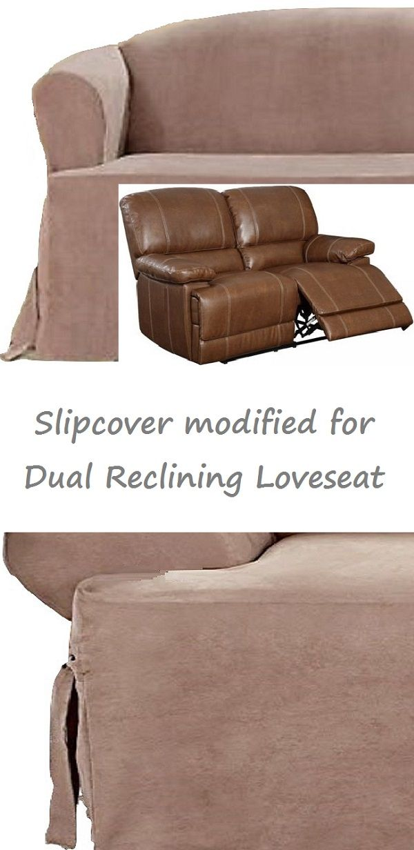Dual Reclining LOVESEAT Slipcover T Cushion Suede Taupe Adapted for Recliner Love Seat