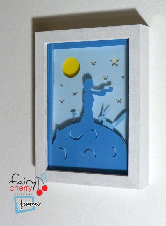 Little Prince framed hand paper cut wall decor wall by FairyCherry