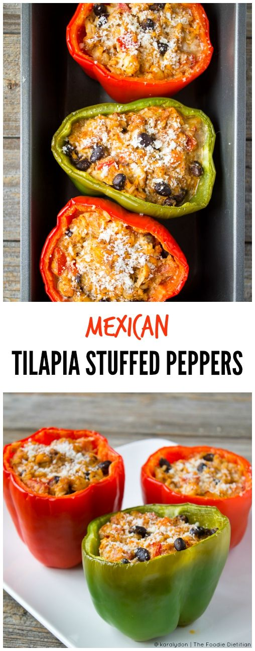 """Pescetarian-friendly Mexican stuffed tilapia peppers are a great """"back to the dinner table"""" meal as the summer begins to wind down and we gear up for getting back to our fall routines."""