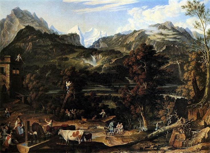 """Joseph Anton Koch: """"The Upland near Bern"""", 1816, oil on canvas, Dimensions:Height: 73 cm (28.7 in). Width: 99 cm (39 in), Current location Gemäldegalerie Alte Meister."""