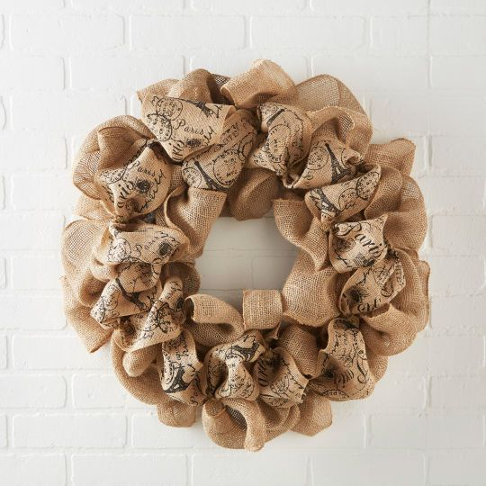 Natural script burlap wreathnatural script burlap wreath for Burlap wreath with lights