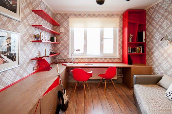 Красная мебель в детской комнате