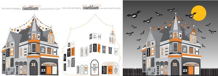 free halloween house countdown from kiki and company #free #printable #halloween