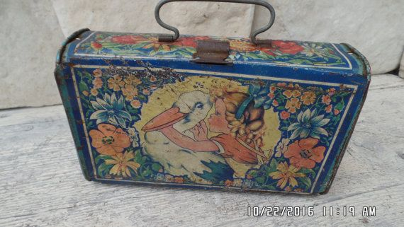 Vintage Tin Lunch Pail Metal Lunch Box Childrens Tin Pelican Little Girl Soviet Lunch Box School Tin