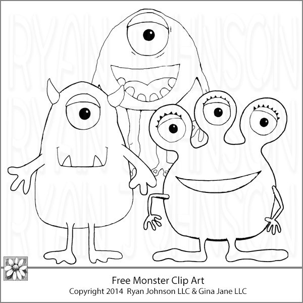 Free Monster Coloring Pages! www.yourfreeart.net and www.daisiecompany.com