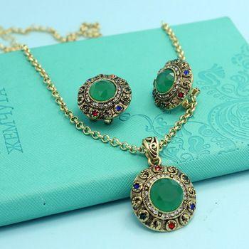 Colares Femininos Gyanta Emerald Vintage Ékszer szett Fashion New Törökország Turkishe nyaklánc fülbevaló szett Collar Indian Ékszerek